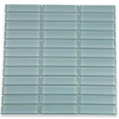 12 in. x 12 in. Contempo Blue Gray Polished Glass Tile