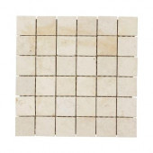 Giallo Sienna 12 in. x 12 in. x 8 mm Travertine Mosaic Floor/Wall Tile