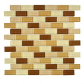 12 in. x 12 in. Auburn Spice Brick Glass Mosaic Tile-DISCONTINUED