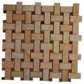 Basket Braid Jerusalem Gold and Wood Onyx 12 in. x 12 in. x 8 mm Stone Mosaic Floor and Wall Tile
