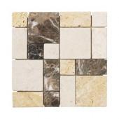 Creama Emperador 12 in. x 12 in. x 8 mm Marble Mosaic Floor/Wall Tile