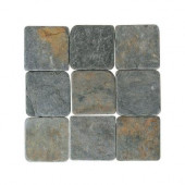 Travertine Indian Multicolor 4 in. x 4 in. Tumbled Stone Floor and Wall Tile (6 sq. ft. / case)