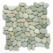 River Rock Turquoise 12 in. x 12 in. x 12.7 mm Natural Stone Pebble Mosaic Floor and Wall Tile (10 sq. ft./case)