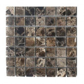 Dark Emperidor Squares Marble Floor and Wall Tile Sample