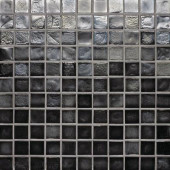 Edgewater Black Sand 1 in. x 1 in. 11 3/4 in. x 11 3/4 in. Glass Floor & Wall Mosaic Tile-DISCONTINUED