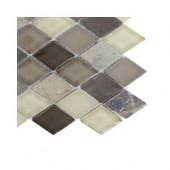 Tectonic Diamond Multicolor Slate and Khaki Blend Glass Floor and Wall Tile Sample