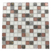 Carved Redwood Blend 12 in. x 12 in. x 8 mm Marble and Glass Mosaic Floor and Wall Tile