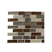 Suede Shoe Brick Pattern 1/2 in. x 2 in. Marble and Glass Tile - 6 in. x 6 in. Floor and Wall Tile Sample