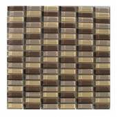 12 in. x 12 in. x 1/4 in. Thick Stacked Brown Glass Tile