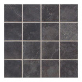 Continental Slate Asian Black 12 in. x 24 in. x 6 mm Porcelain Mosaic Tile (22 sq. ft. / case)