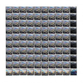Sonterra Glass Black Iridescent 12 in. x 12 in. x 6 mm Glass Sheet Mounted Mosaic Wall Tile
