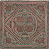 Castle Metals 4-1/4 in. x 4-1/4 in. Aged Copper Metal Insert A Accent Wall Tile