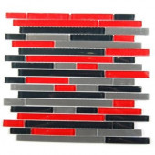 Temple Explosion 12 in. x 12 in. x 8 mm Glass Mosaic Floor and Wall Tile