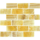 Honey Subway 12 in. x 12 in. x 10 mm Polished Onyx Mesh-Mounted Mosaic Tile