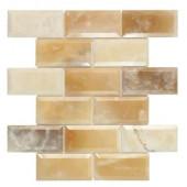 Beveled Onyx 2 x 4/12 in. x 12 in. x 10 mm Onyx Mosaic Wall Tile