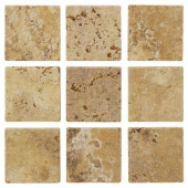 Travertino Gold 4 in. x 4 in. Travertine Floor and Wall Tile (9 pieces/sq. ft.)