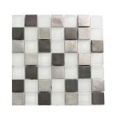 Tetris Steel Ice 3/4 in. x 3/4 in. Squares Tile Sample