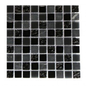 Metropolis Black Blend 1/2 in. x 1/2 in. Marble And Glass Tile - 6 in. x 6 in.Tile Sample