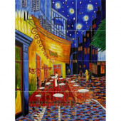 Van Gogh, Cafe Terrace at Night Mural 18 in. x 24 in. Wall Tiles-DISCONTINUED