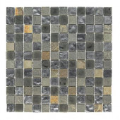 Black Gold Medley 12 in. x 12 in. x 8 mm Glass Slate Mosaic Floor and Wall Tile