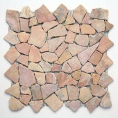 Indonesian Sumatra Red 12 in. x 12 in. x 6.35mm Natural Stone Pebble Mesh-Mounted Mosaic Tile (10 sq. ft. / case)