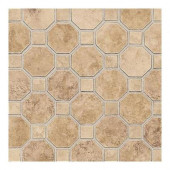 Salerno Marrone Chiaro 12 in. x 12 in. x 6 mm Ceramic Octagon Mosaic Floor and Wall Tile
