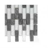 Tectonic Brick Black Slate and Silver Glass Floor and Wall Tile Sample