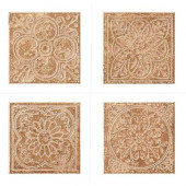 Montagna Soratta 6 in. x 6 in. Porcelain Embossed Deco (Receive 1 of 4 Random Decos - Sold as Singles)-DISCONTINUED