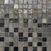 Edgewater Silverstrand 1 in. x 1 in. 11 3/4 in. x 11 3/4 in. Glass and Slate Floor & Wall Mosaic Tile-DISCONTINUED