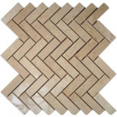 Crema Marfil Herringbone 12 in. x 12 in. x 8 mm Marble Floor and Wall Tile