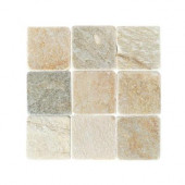 Travertine Autumn Mist 4 in. x 4 in. Slate Floor and Wall Tile (6 sq. ft. / case)