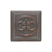 Castle Metals 2 in. x 2 in. Wrought Iron Metal Clover Insert Accent Wall Tile