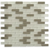 Contempo Ice Cave 1/2 in. x 2 in. Brick Pattern Metal and Glass Tile Sample