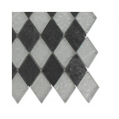 Tectonic Diamond Black Slate and Silver Glass Floor and Wall Tile - 6 in. x 6 in. Tile Sample