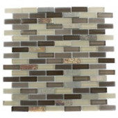 Tectonic Brick Multicolor Slate And Khaki Blend 12 in. x 12 in. x 8 mm Glass Mosaic Floor and Wall Tile