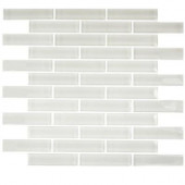 Contempo Bright White Big Brick 12 in. x 12 in. x 8 mm Glass Floor and Wall Tile