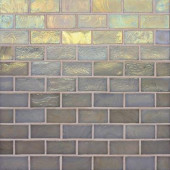 Edgewater Dune 1 in. x 2 in. 10-5/8 in. x 10-5/8 in. Glass Floor & Wall Mosaic Tile-DISCONTINUED