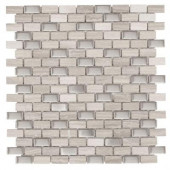 Brick Boulevard 11- 1/4 in. x 12 in. x 8 mm Stone Stainless Mosaic Wall Tile