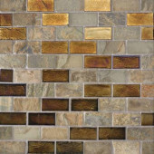 Edgewater Sunset Cliffs 1 in. x 2 in. 10 5/8 in. x 10 5/8 in. Glass and Slate Floor & Wall Mosaic Tile-DISCONTINUED
