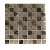 Namib Desert Blend Squares 1/2 in. x 1/2 in. Marble and Glass Tile Squares - 6 in. x 6 in. x 8 mm Tile Sample