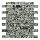 Black Magic 12 in. x 12 in. Black Glass Brick Mosaic Tile