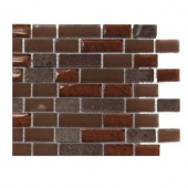 Penny Pottery Brick Pattern 1/2 in. x 2 in. Marble and Glass Tile - 6 in. x 6 in. Floor and Wall Tile Sample