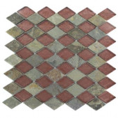 Tectonic Diamond Multicolor Slate and Rust 12 in. x 12 in. x 8 mm Glass Mosaic Floor and Wall Tile