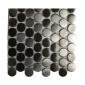 Metal Silver Stainless Steel 3-5 Penny Round Tiles Tile Sample