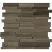 Dimension 3D Brick Athens Gray Pattern 12 in. x 12 in. x 8 mm Marble Mosaic Floor and Wall Tile