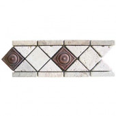 Noche/Chiaro Copper Scudo 4 in. x 12 in. Travertine/Metal Listello Floor and Wall Tile