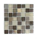 Tectonic Squares Multicolor Slate and Khaki Blend Glass Floor and Wall Tile - 6 in. x 6 in.Tile Sample