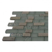 Emerald Bay Blend Brick Pattern 1/2 in. x 2 in. Marble and Glass Tiles Brick - 6 in. x 6 in. Floor and Wall Tile Sample
