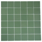 Contempo Spa Green Frosted 12 in. x 12 in. x 8 mm Glass Floor and Wall Tile