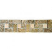 Noche Chiaro Basket Weave 3 in. x 12 in.Travertine Listello Floor and Wall Tile